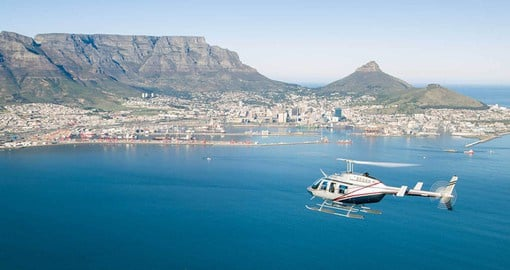 Include a helicopter flight over Cape Town on your trip to South Africa