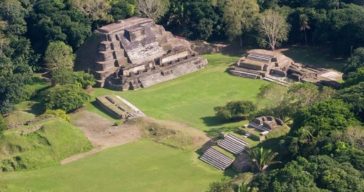 Altun Ha Maya Ruins in the tropical jungle