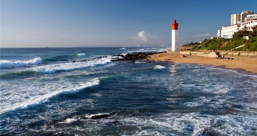 Enjoy amazing view from the lighthouse at Umhlanga Beach during your next South Africa  tours.
