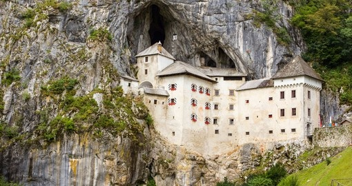 Predjama Castle within a cave mouth, Slovenia