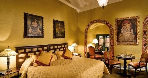 Enjoy the colonial style rooms at the Monasterio Hotel  on your Peru Tour