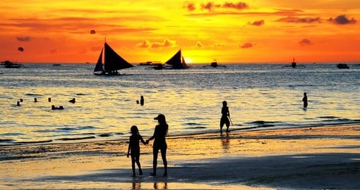 The beautiful beaches of Boracay, especially in the evening, are a great photo opportunity while on your Philippines vacation.