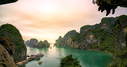 An inlet on the Gulf of Tonkin, Ha Long has 1,600 limestone islands and pillars