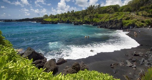 Wai'anapanapa State Park is home to one Maui's volcanic-sand beaches