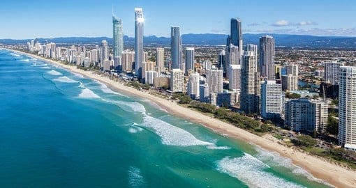 The Gold Coast - Australia's beautiful stretch of golden sand beaches - always popular on Australia vacations.