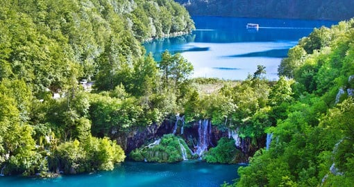 The Plitvice Lakes National Park features a chain of 16 terraced lakes joined by waterfalls