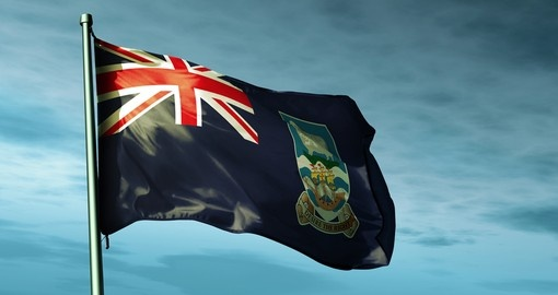 Falkland Islands (UK) flag waving on the wind