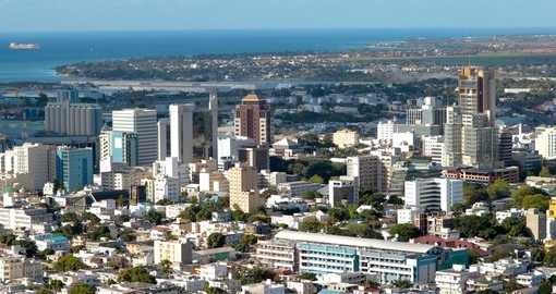 An aerial view of Port Louis and the starting point of your Mauritius vacation.