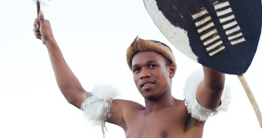 African Zulu Man holding traditional shield