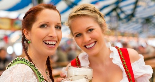 Young women in traditional Bavarian clothes