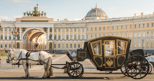 Tsar Horse Carriage in Front of Winter Palace