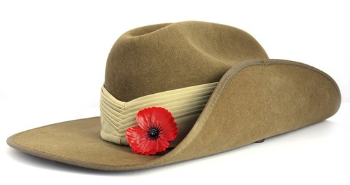 Anzac Day Army Slouch Hat with Red Poppy