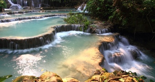 Luang Prabang waterfalls is a popular inclusion when booking your Laos tour.