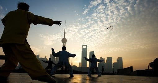 People playing Taiji on the Bund - Shanghai