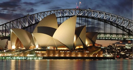 The Sydney Opera house with the harbour bridge at night are life long memories of any Australia vacation.