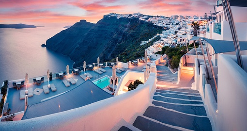 Picturesque Santorini during a beautiful sunset