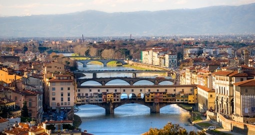 Panoramic view of Florence and Ponte Vecchio - a must inclusion on your Italy vacation.