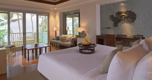 Amatara's rooms & villas feature private balconies with sea views