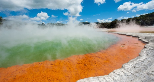 Feel the heat of the Wai-o-tapu Geothermal Area on your New Zealand Vacation