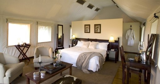 Sleep in comfort during your stay at Gorah Elephant Camp in South Africa