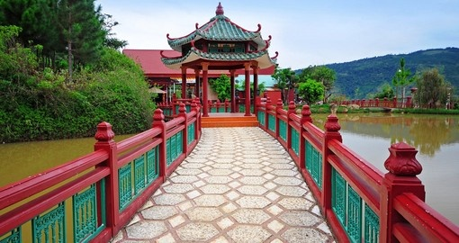 Chinese style walkway is a reflection on the many cultural incluences you will experience on your Vietnam tour packages
