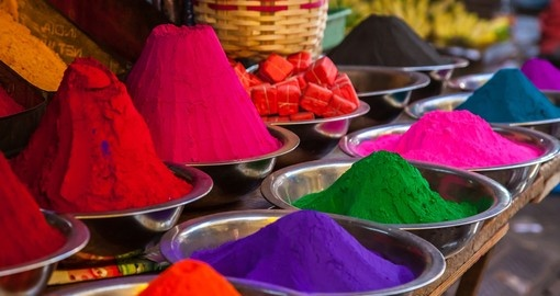 The bright colors of an Indian market