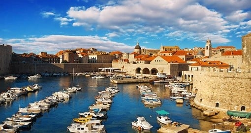 Dubrovnik old town pier is a popular photo opportunity while on your Croatia vacation.