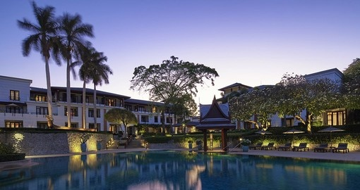 Enjoy a dip in the pool at the Chiva-Sum Resort during your Thailand vacation.
