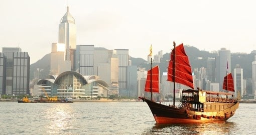 A cruise on a traditional junk is a popular activity on Hong Kong tours.