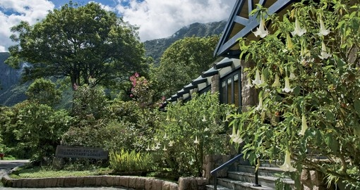 Forested front entrance to the Belmond Sanctuary Lodge Hotel – Machu Picchu