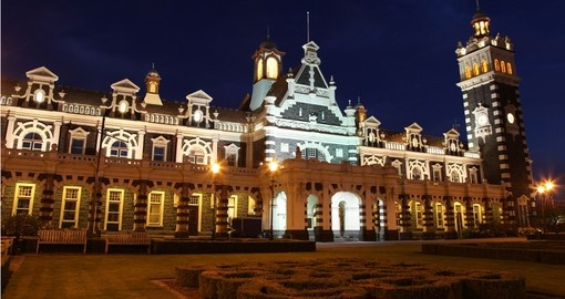 Dunedin's famous historic railway station is a great photo opportunity while on your New Zealand vacation.