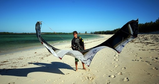 Kiter on a beach