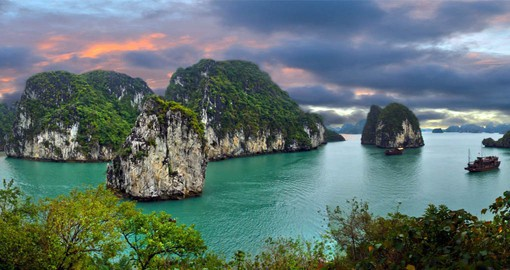 A UNESCO World Heritage Site, Halong Bay is dotted with 1,600 limestone islands