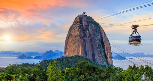 Sugarloaf's peak rises 396 meters high and presents a bird's eye view of Rio de Janeiro
