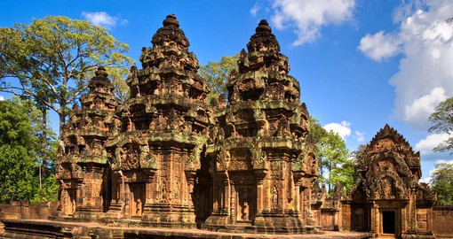 Visit Banteay Srei to see the Temple of Woman, in pink sandstone on your Cambodia Tours