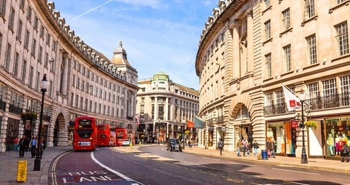 Include a stop on Regent Street during your trip to London for fabulous shopping