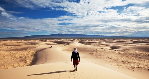 Walking the sands of the Gobi will be a highlight of your Mongolia tour.