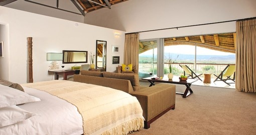 Sleep in comfort during your stay at the Gondwana Family Lodge in South Africa.