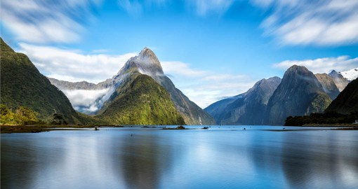 Mitre Peak raising above picturesque Milford Sound