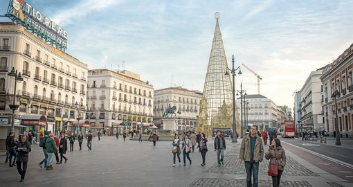 Puerta del Sol is one of the main squares in Madrid