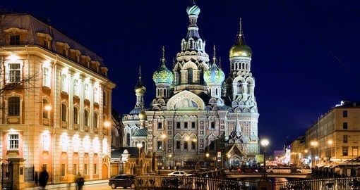 The Church of the Savior on Spilled Blood in the evening