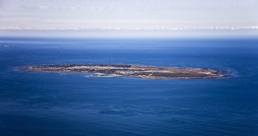 Aerial view of Robben Island in Cape Town