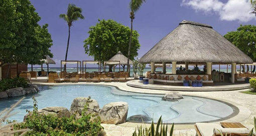 Relax at the The Aqua Bar at the Hilton Mauritius Resort on your Mauritius vacation
