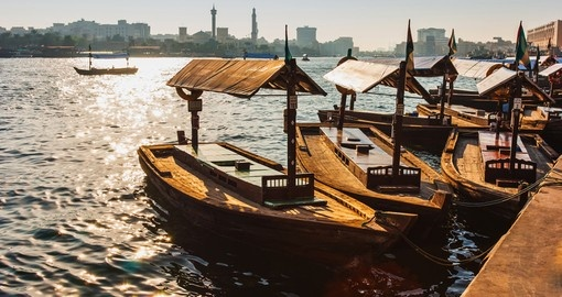 Take a Water taxi on Dubai Creek - always a popular thing to do on vacations to Dubai.