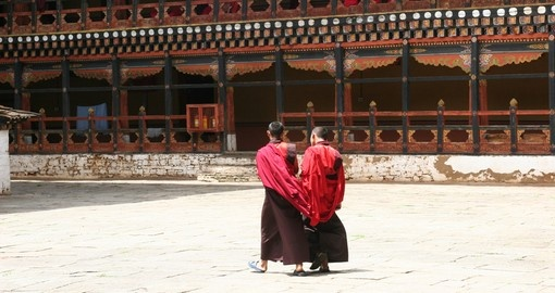 Monks at Rinpung Dzong in Paro
