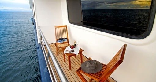 Watch the world go by on your private balcony on your trip to the Galapagos