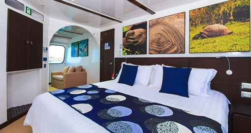 Relax in your Main Deck Suite on your Galapagos Cruise