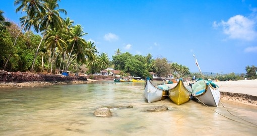 Wooden outrigger fishing boats at Baga Beach