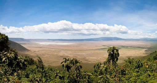 Panoramic photo from the rim of the crater as seen from your Ngorongoro Conservation Area safari.