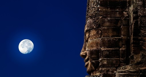 Stone sculpture of Buddha and the moon